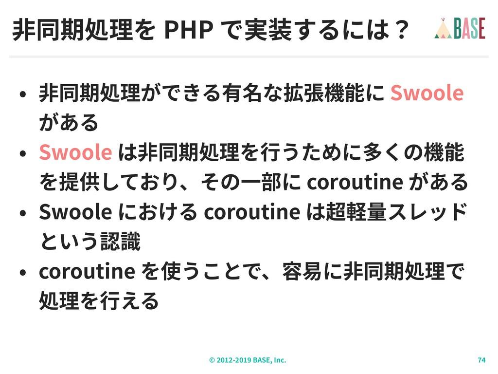 © - BASE, Inc. PHP Swoole Swoole coroutine Swoo...