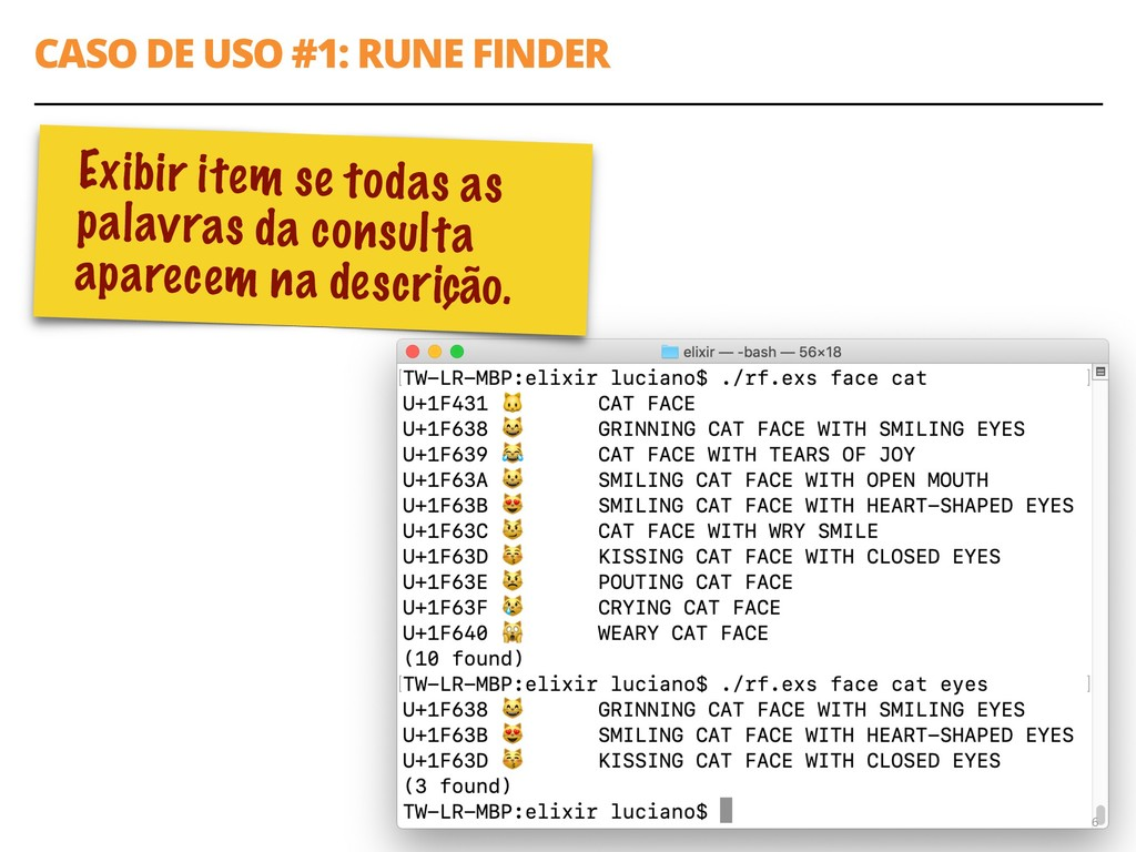 "CASO DE USO #1: RUNE FINDER 6 query = [""FACE""] ..."