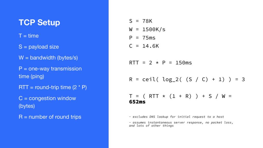TCP Setup T = time  S = payload size  W = bandw...
