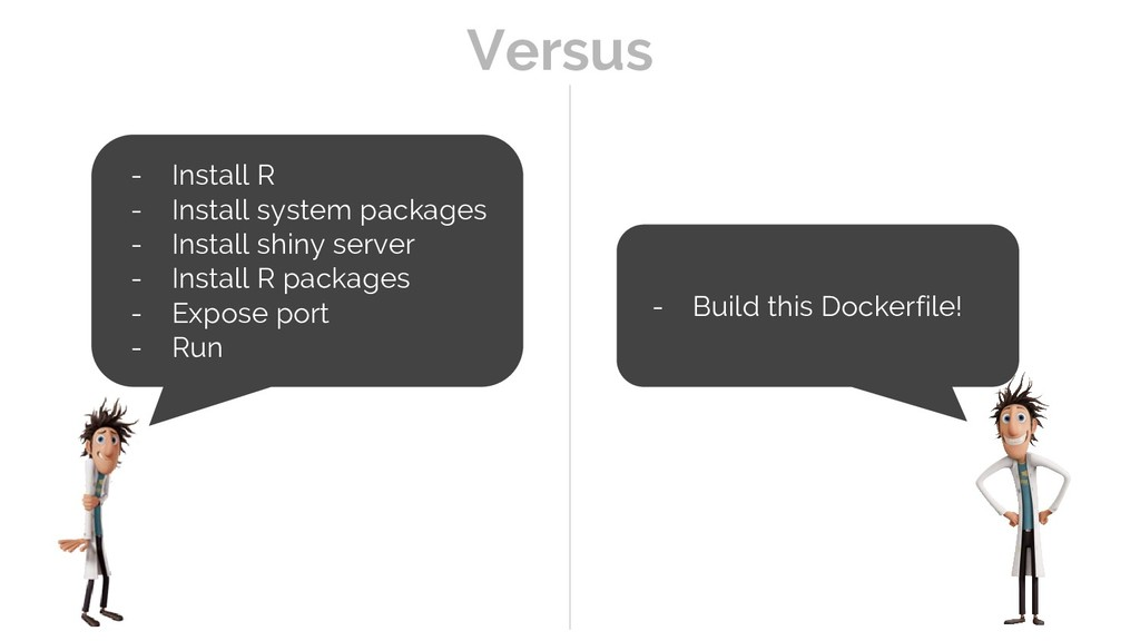 - Build this Dockerfile! - Install R - Install ...
