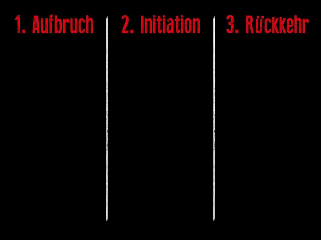 1. Aufbruch 2. Initiation 3. Rückkehr