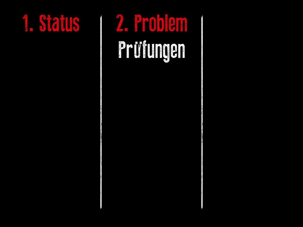 1. Status 2. Problem Prüfungen