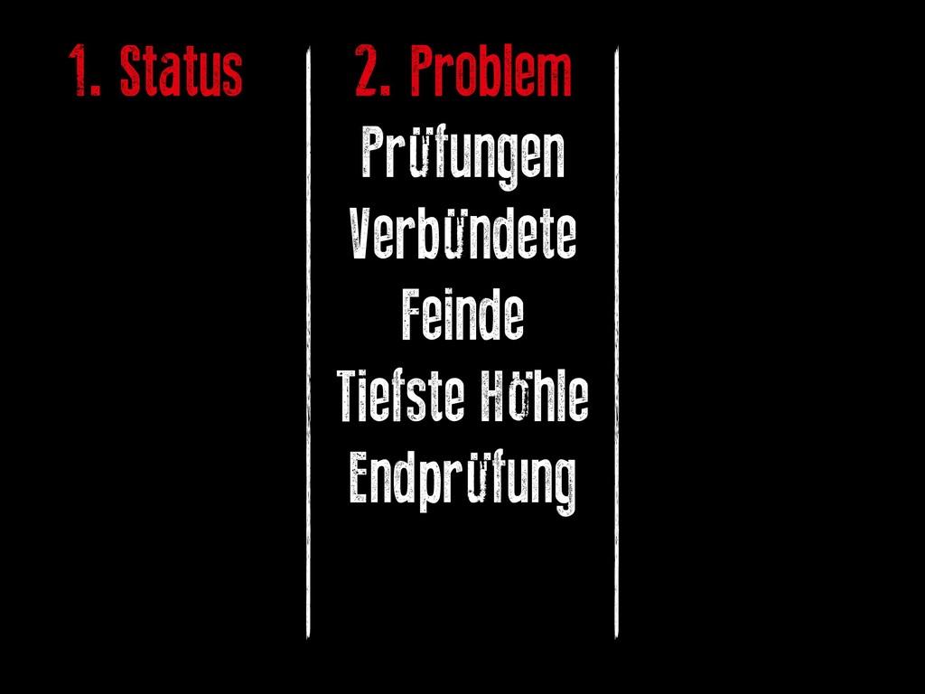 1. Status 2. Problem Prüfungen Verbündete Feind...