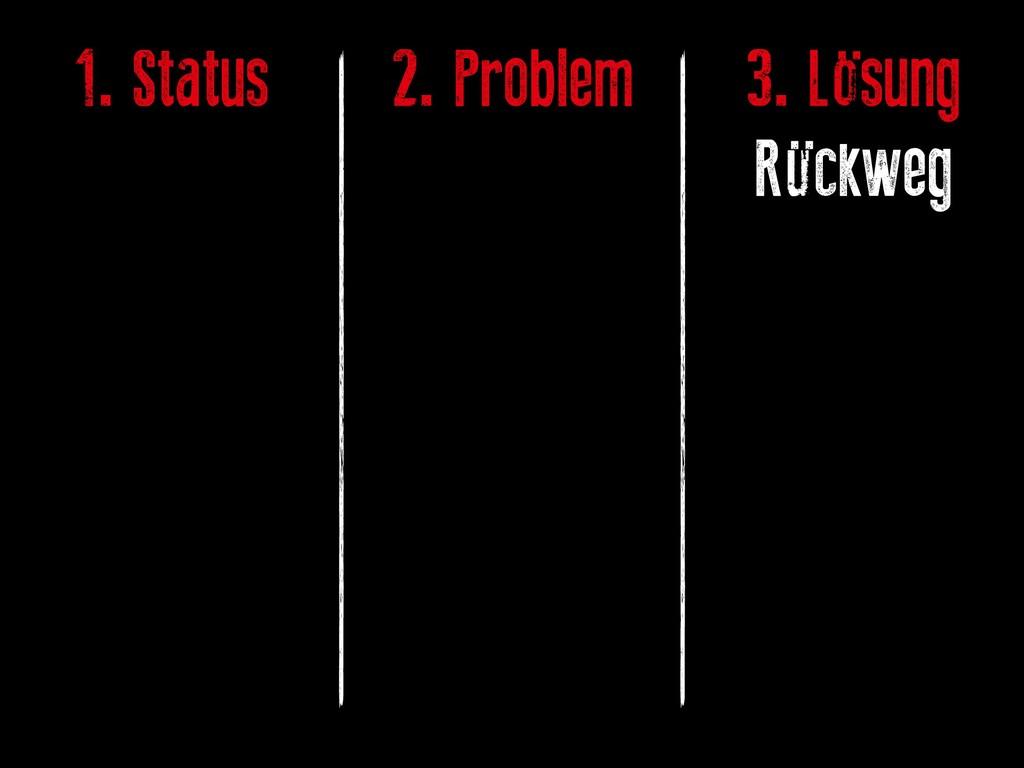 1. Status 2. Problem 3. Lösung Rückweg