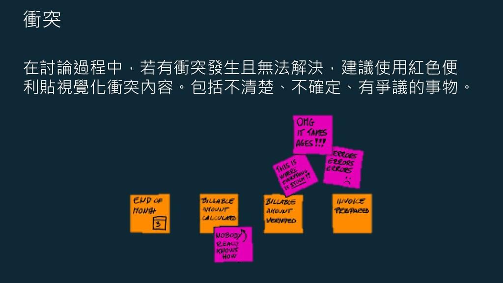 衝突 在討論過程中,若有衝突發生且無法解決,建議使用紅色便 利貼視覺化衝突內容。包括不清楚、不...