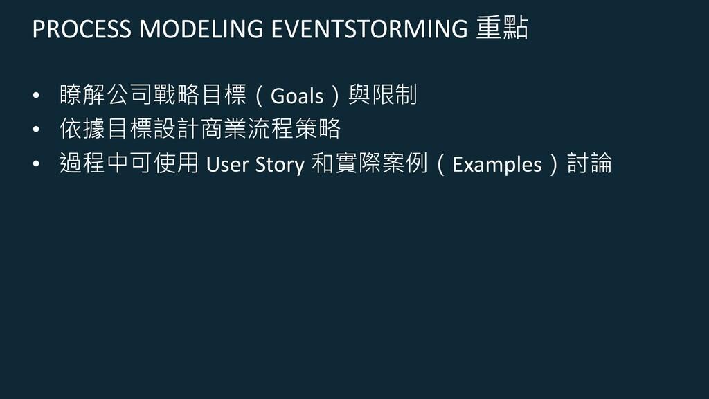 PROCESS MODELING EVENTSTORMING 重點 • 瞭解公司戰略目標(Go...
