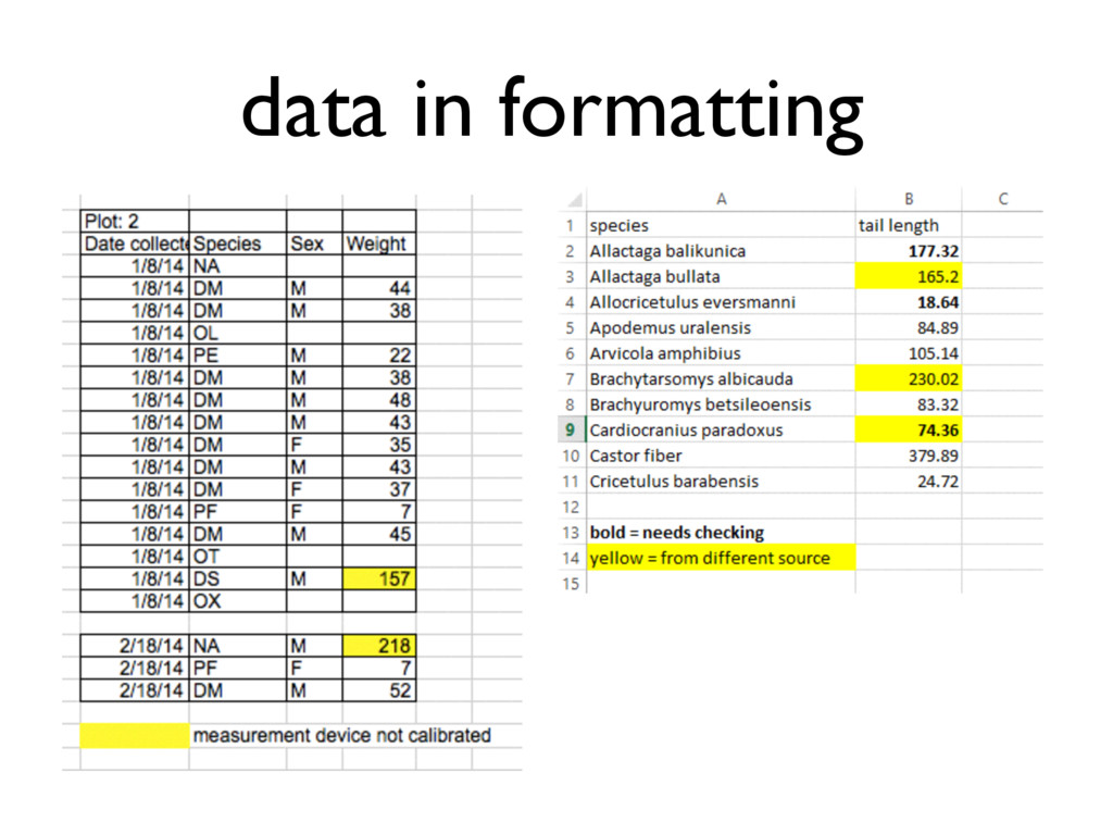 data in formatting