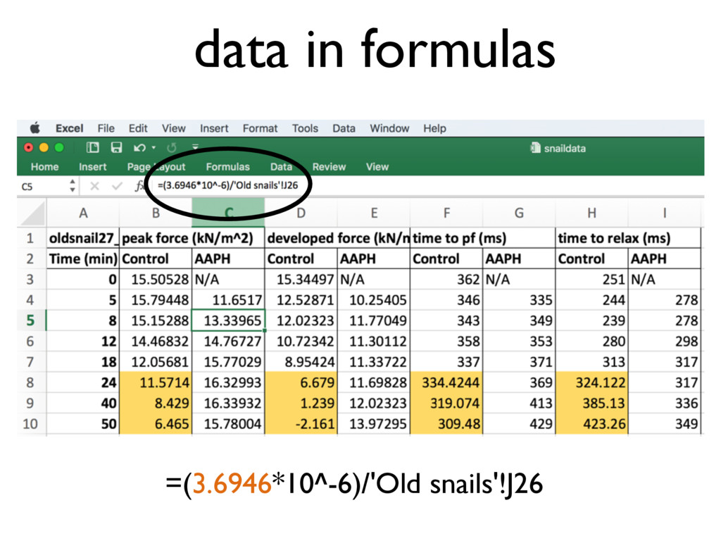 data in formulas =(3.6946*10^-6)/'Old snails'!J...