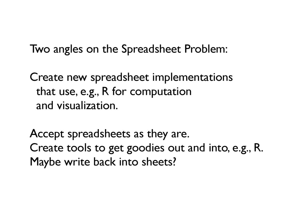 Two angles on the Spreadsheet Problem: Create n...