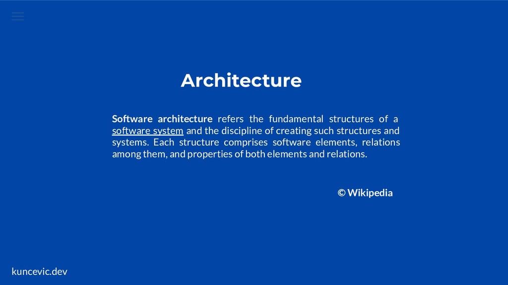 kuncevic.dev Architecture Software architecture...