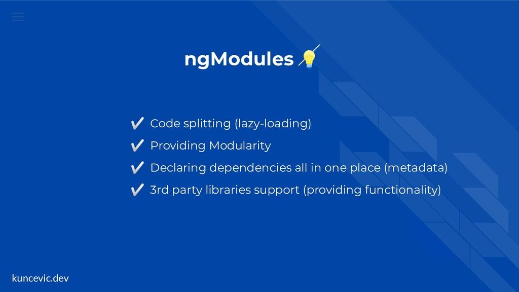 kuncevic.dev ngModules  ✅ Code splitting (lazy-...