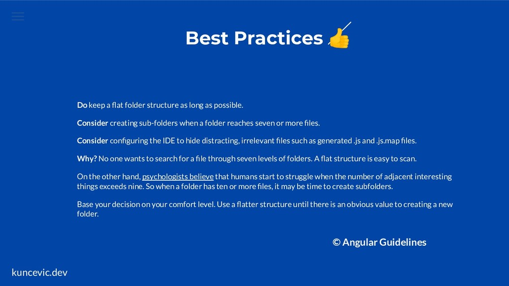 kuncevic.dev Best Practices  Do keep a flat fold...
