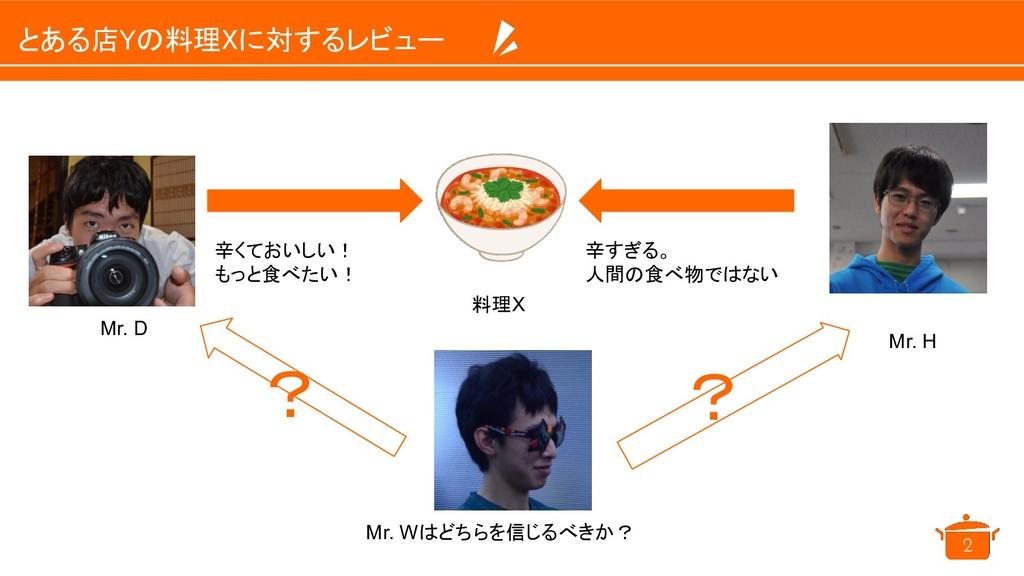 とある店Yの料理Xに対するレビュー 2 Mr. D Mr. H 料理X 辛くておいしい! も...