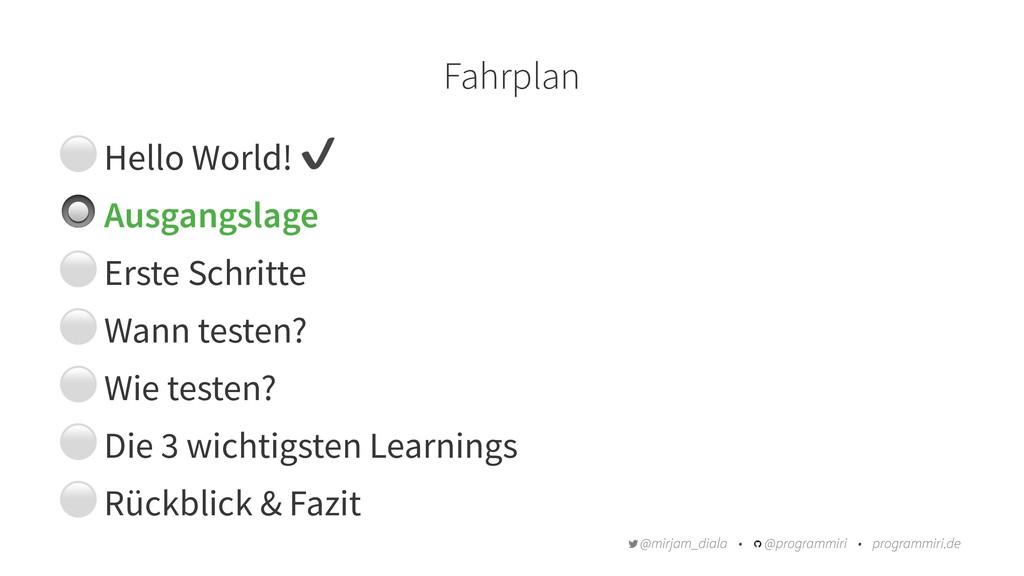 Fahrplan ⚪ Hello World! ✔ # Ausgangslage ⚪ Erst...