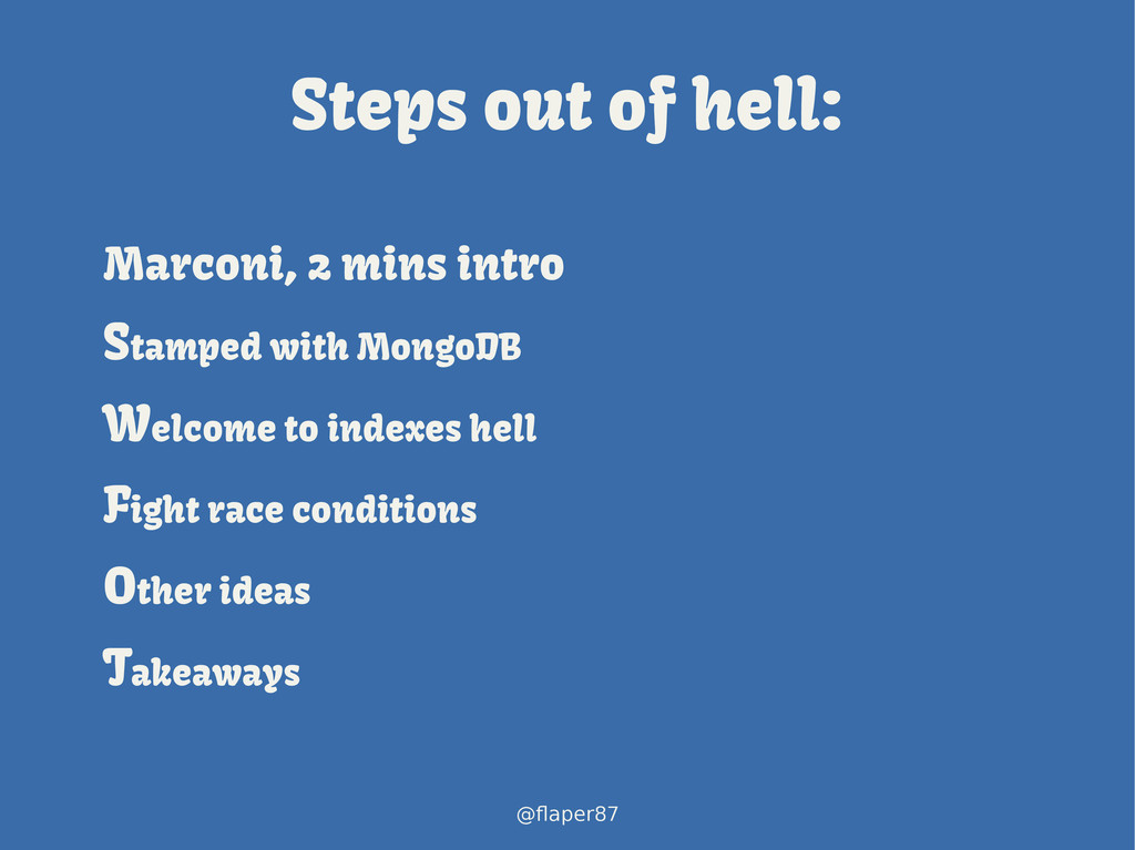 @flaper87 Steps out of hell: Marconi, 2 mins in...