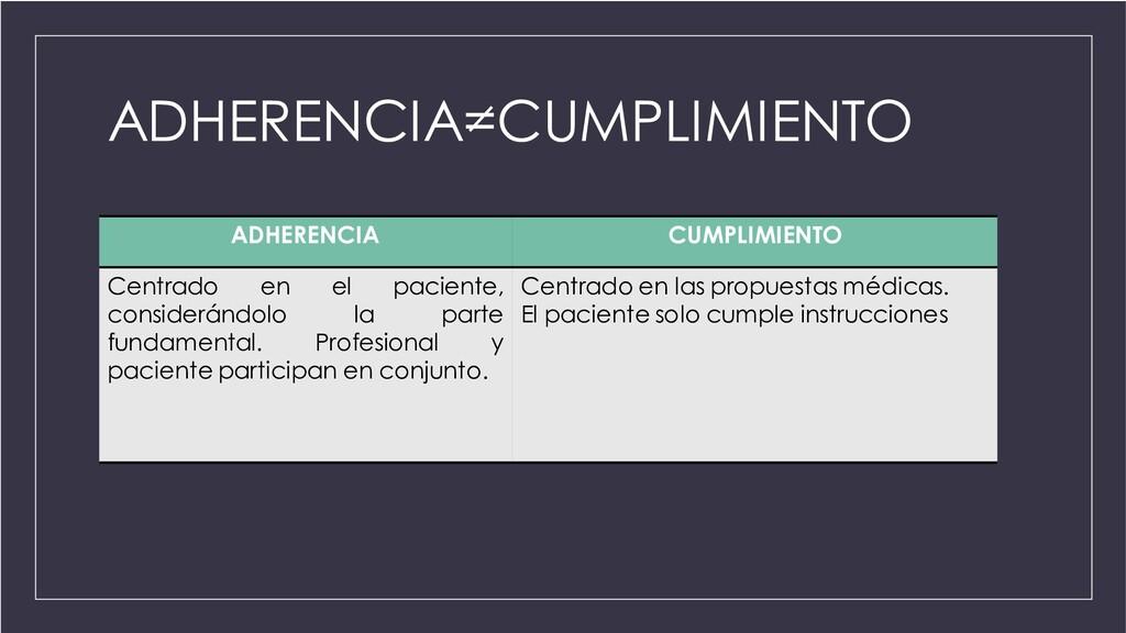 ADHERENCIA=CUMPLIMIENTO ADHERENCIA CUMPLIMIENTO...
