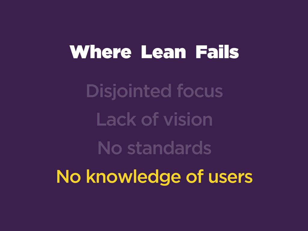 Where Lean Fails Disjointed focus Lack of visio...