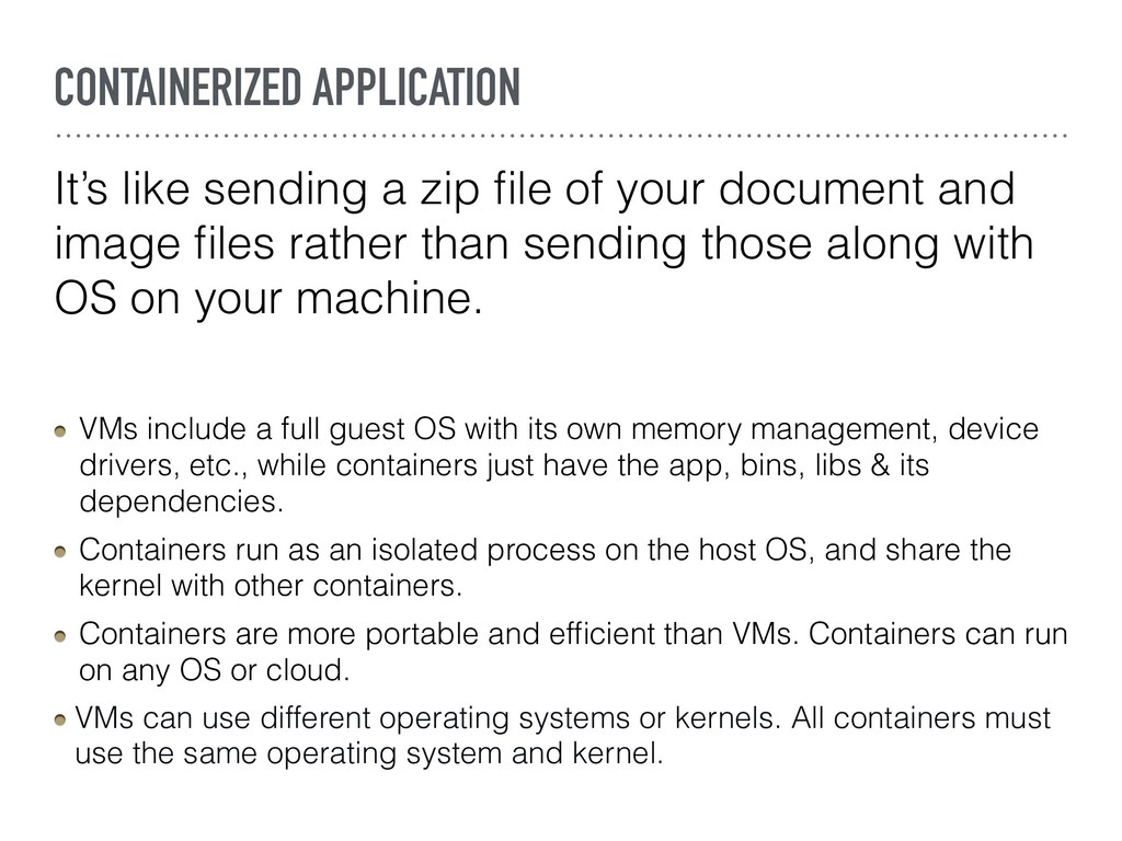 CONTAINERIZED APPLICATION It's like sending a z...