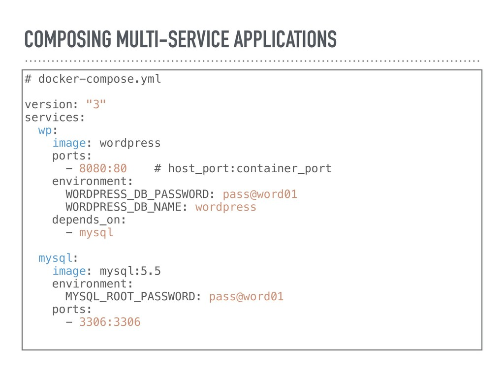 COMPOSING MULTI-SERVICE APPLICATIONS # docker-c...
