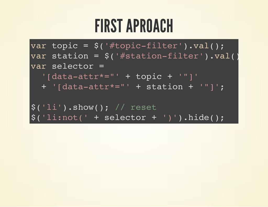FIRST APROACH v a r t o p i c = $ ( ' # t o p i...