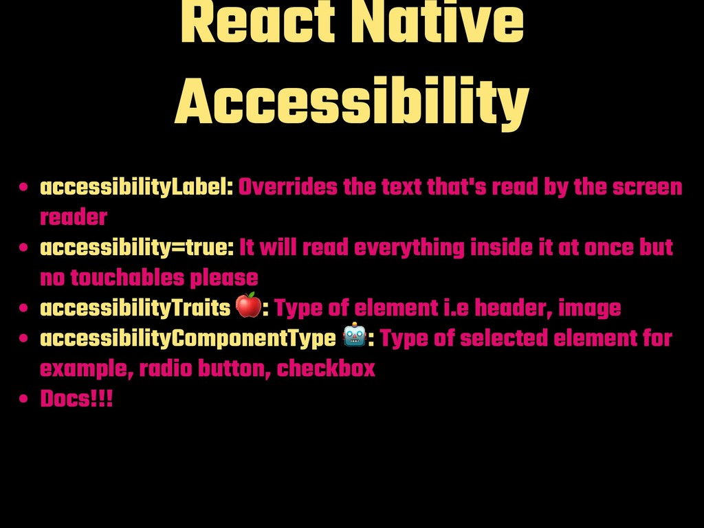 React Native Accessibility accessibilityLabel: ...