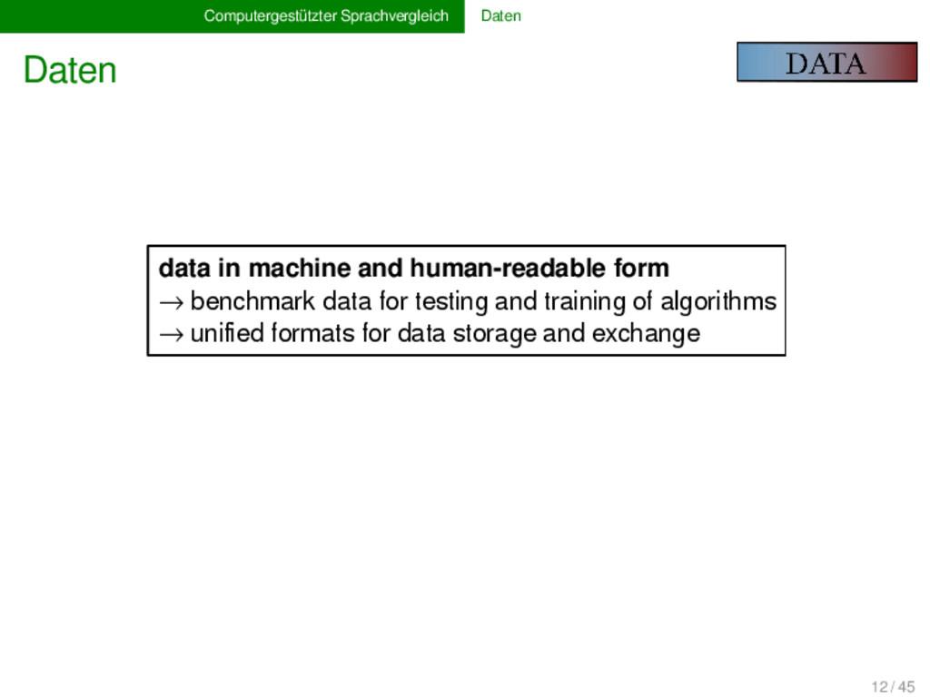 Computergestützter Sprachvergleich Daten Daten ...