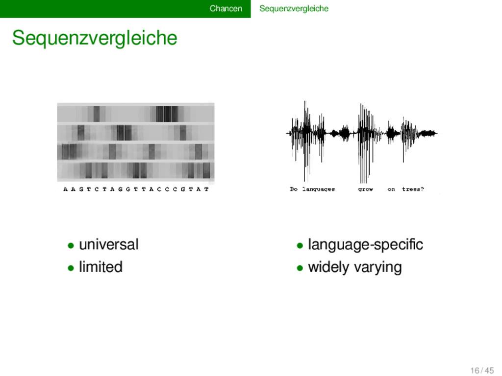Chancen Sequenzvergleiche Sequenzvergleiche • u...