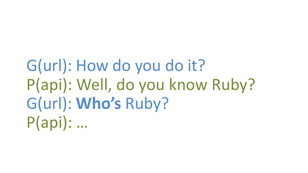 G(url): How do you do it? P(api): Well, do you ...