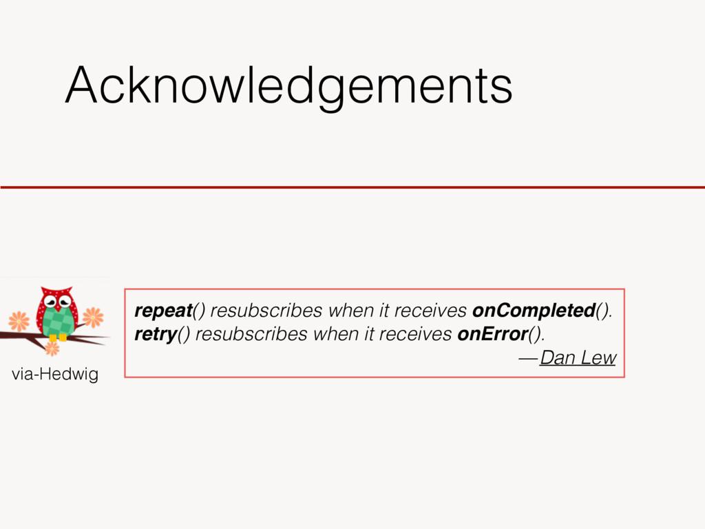 Acknowledgements via-Hedwig repeat() resubscrib...