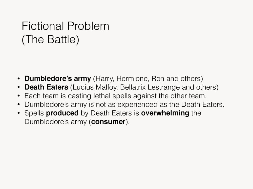 Fictional Problem (The Battle) • Dumbledore's a...