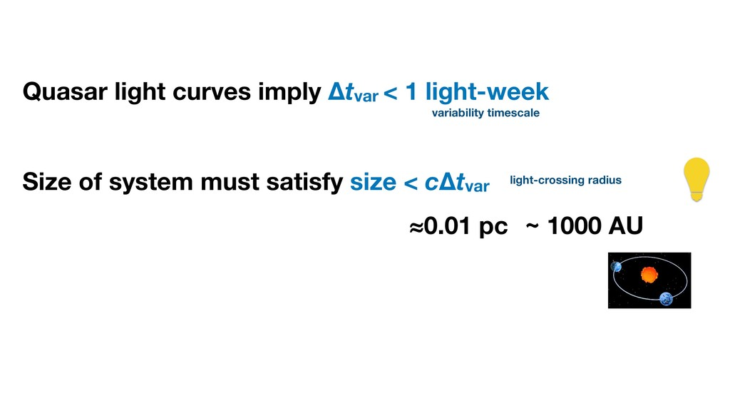 Quasar light curves imply Δtvar < 1 light-week ...