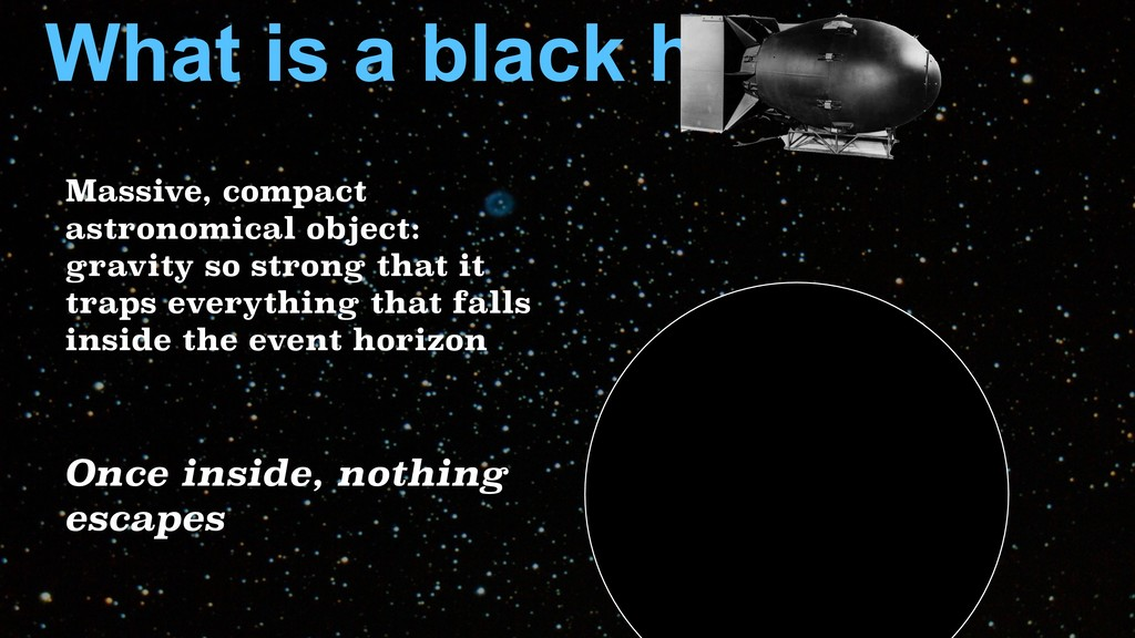 What is a black hole? Once inside, nothing esca...