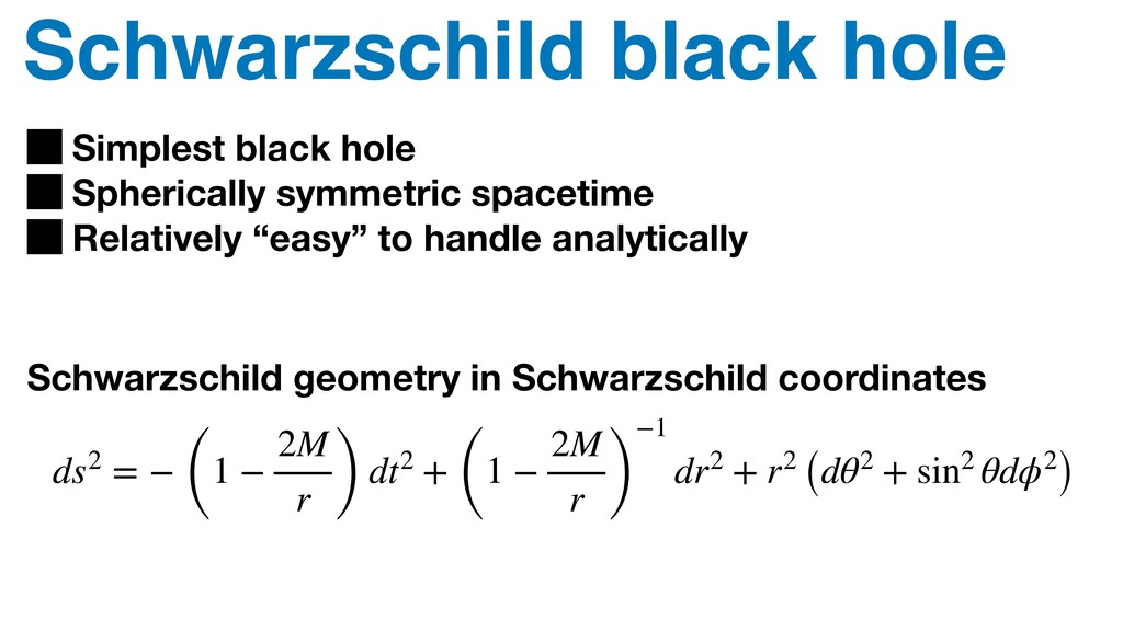 Schwarzschild black hole Simplest black hole Sp...
