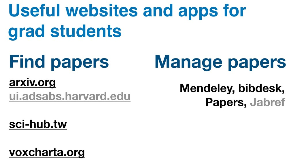 Useful websites and apps for grad students arxi...