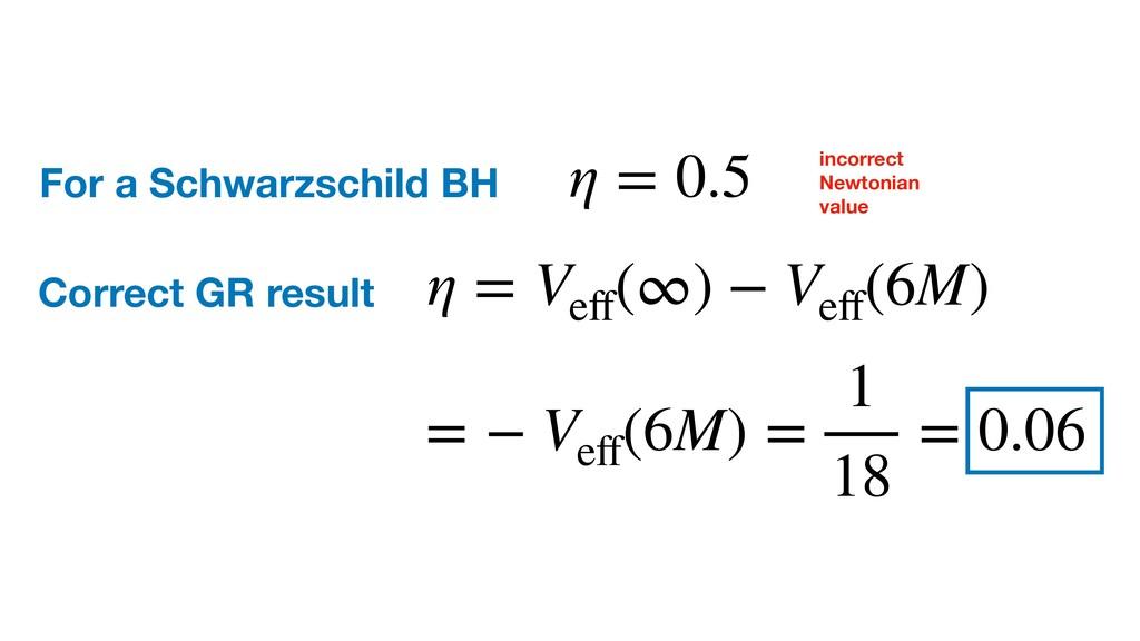 For a Schwarzschild BH η = 0.5 incorrect Newton...