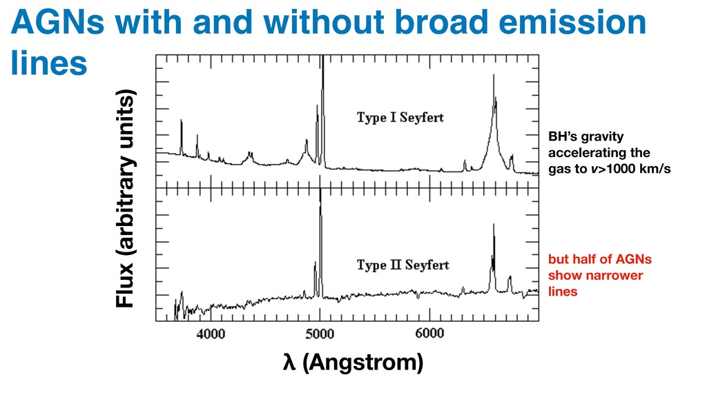 λ (Angstrom) AGNs with and without broad emissi...