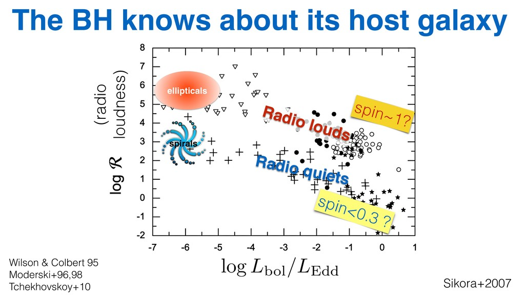 log Lbol/LEdd (radio loudness) Radio quiets ell...