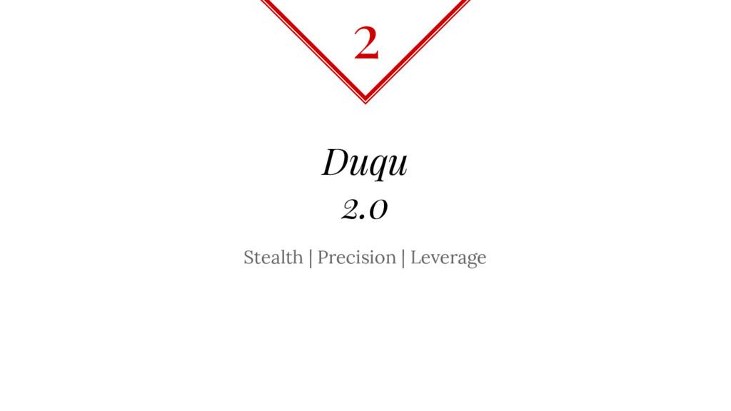 Duqu 2.0 Stealth | Precision | Leverage 2