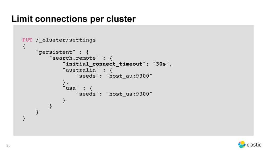 Limit connections per cluster PUT /_cluster/set...