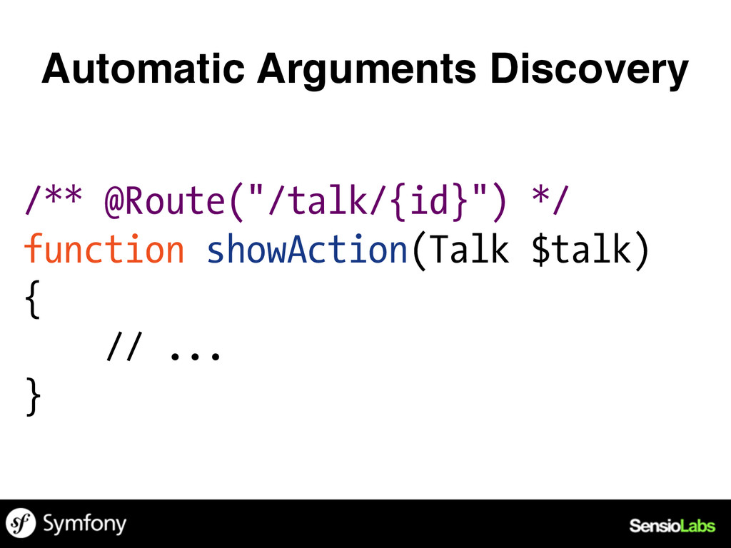 "/** @Route(""/talk/{id}"") */ function showAction..."