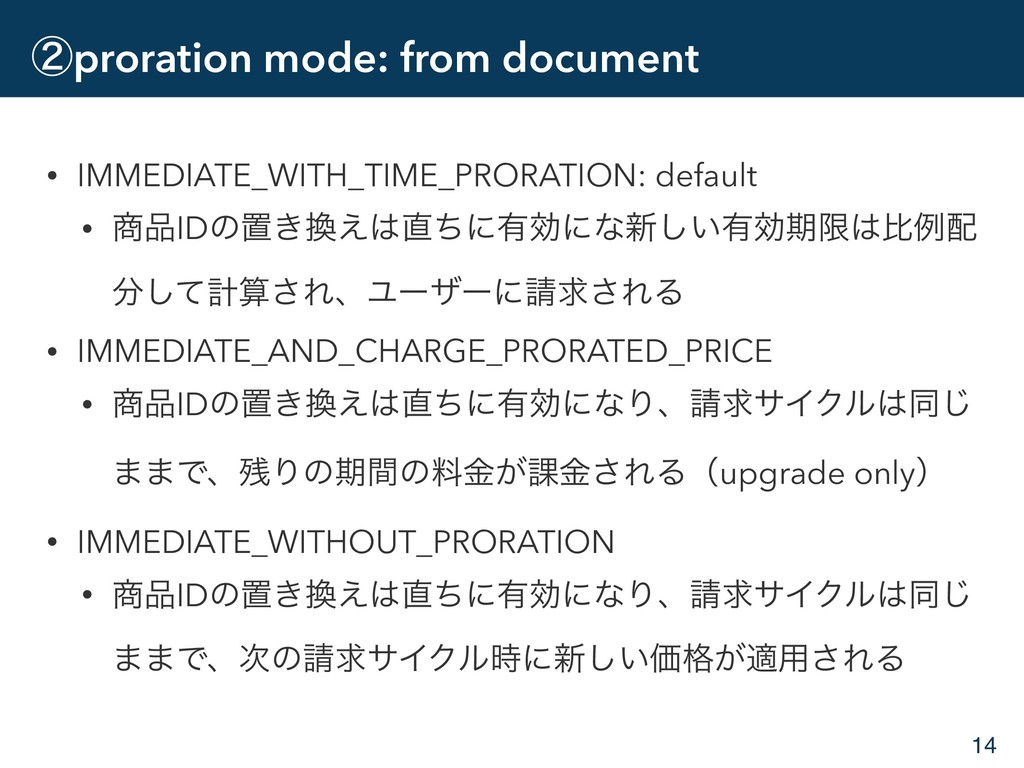 ᶄproration mode: from document • IMMEDIATE_WITH...