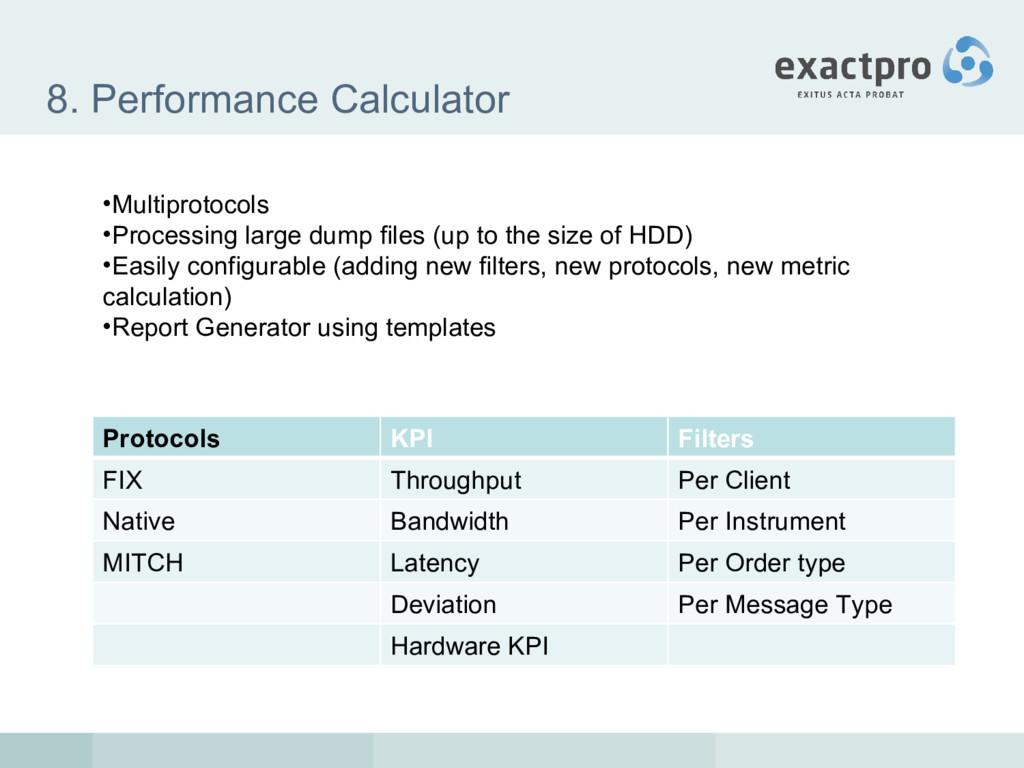8. Performance Calculator Protocols KPI Filters...
