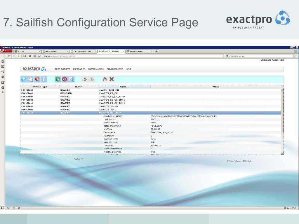 7. Sailfish Configuration Service Page