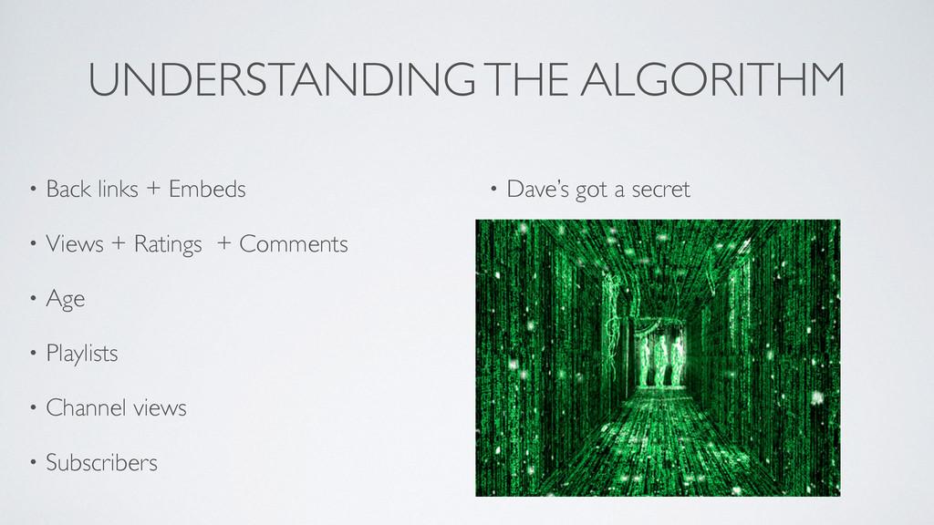 UNDERSTANDING THE ALGORITHM • Back links + Embe...