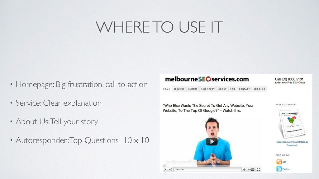 WHERE TO USE IT • Homepage: Big frustration, ca...
