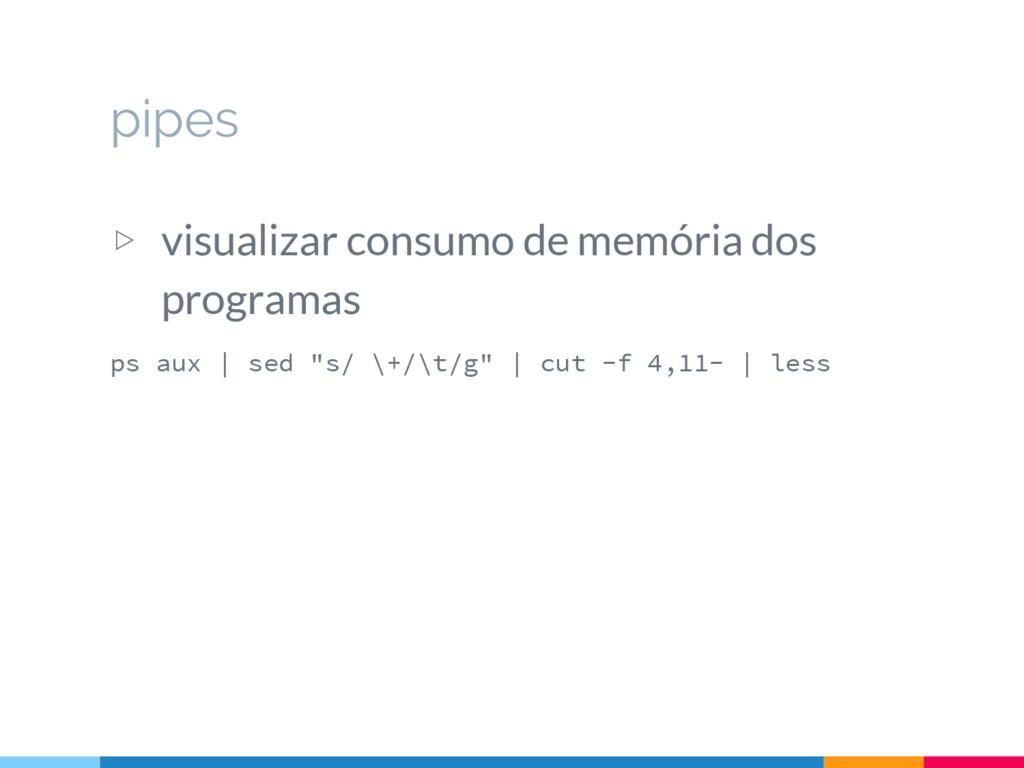 ▷ visualizar consumo de memória dos programas p...