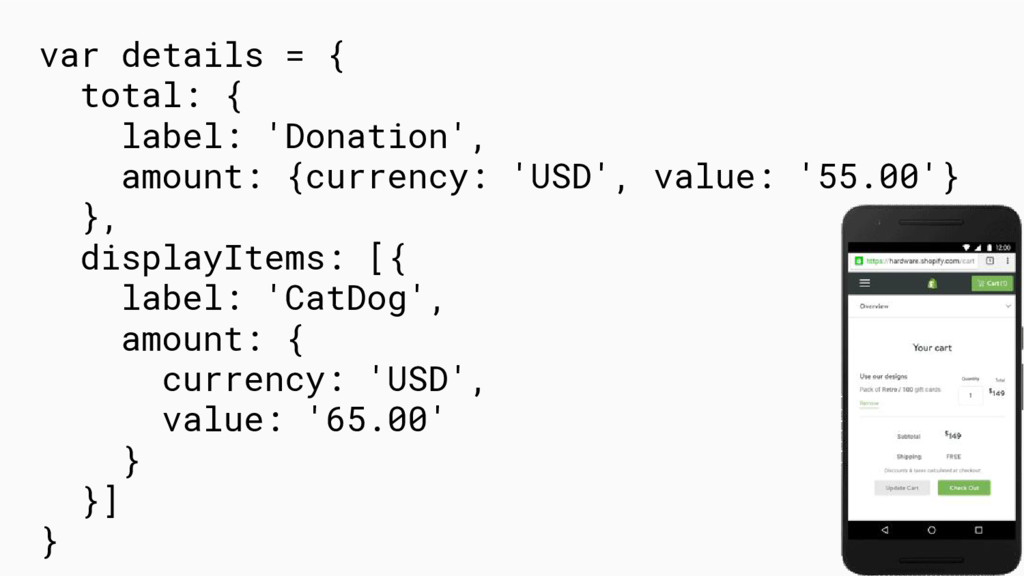 var details = { total: { label: 'Donation', amo...