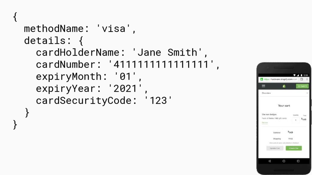 { methodName: 'visa', details: { cardHolderName...