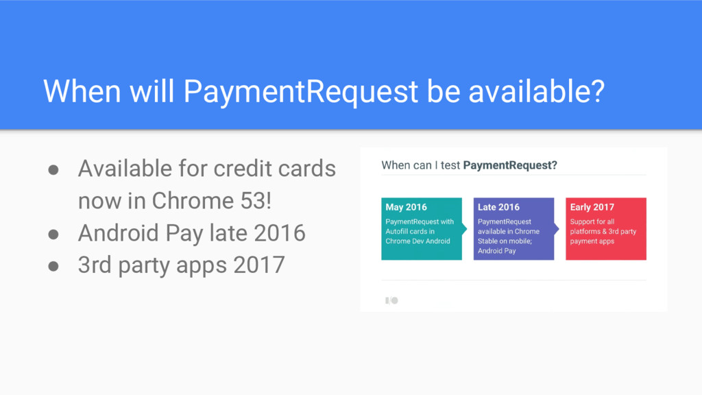 When will PaymentRequest be available? ● Availa...