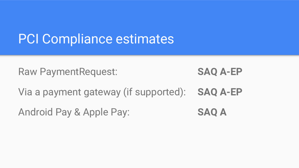 PCI Compliance estimates Raw PaymentRequest: SA...